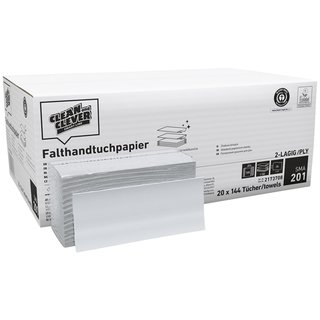 SMA201 Falthandtuch 23 x 31cm weiß 2-lagig CLEAN and CLEVER